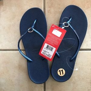 NWT HAVAIANAS Women's Ring Flip Flop Navy Blue